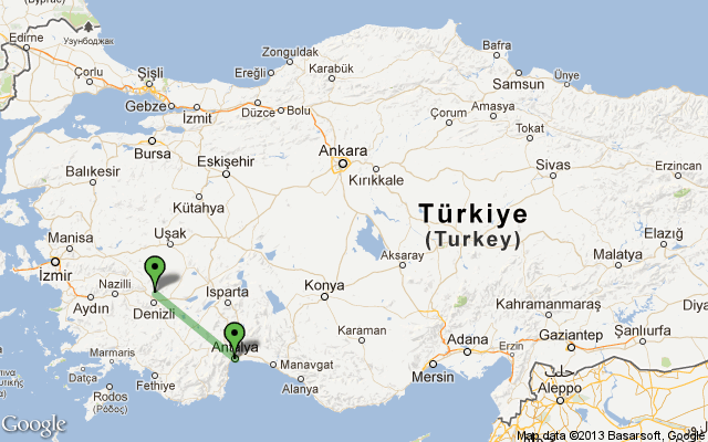 antalya pamukkale turkey route distance